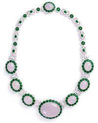 LC COLLECTION Diamond Jade 18k White Gold Necklace - Green