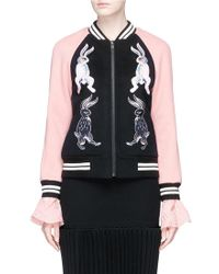 Helen Lee - Bunny Embroidered Wool-cashmere Felt Bomber Jacket - Lyst