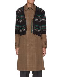 Kolor Striped Cardigan Overlay Glen Check Long Coat - Multicolour