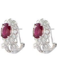 LC COLLECTION Diamond Ruby 18k White Gold Earrings - Metallic