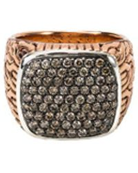 John Hardy - Diamond Bronze Silver Large Signet Ring - Lyst