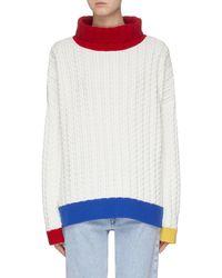 i-am-chen Layered Back Colourblock Hem Oversized Sweater - White