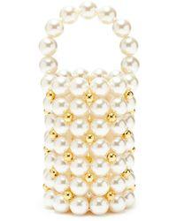 Vanina Comino Acrylic Bead Top Handle Bucket Bag - White