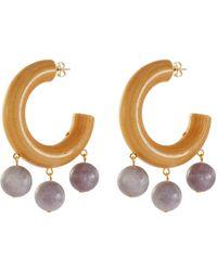 Sophie Monet 'the Amethyst' Bead Drop Wood Hoop Earrings - Multicolor