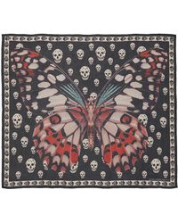 Alexander McQueen - Giant Butterfly Skull Silk Scarf - Lyst