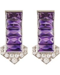 Palais Royal Cartier Diamond Amethyst Platinum Dress Clips - Purple