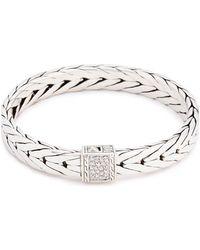 John Hardy - Diamond Silver Weave Effect Link Bracelet - Lyst