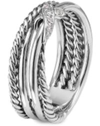 David Yurman 'x' Diamond Silver Crossover Ring - Metallic