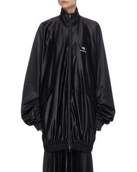 Balenciaga Gathered Drape Track Jacket - Black