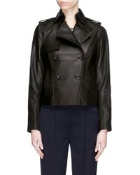 Vince - Cropped Leather Trench Jacket - Lyst