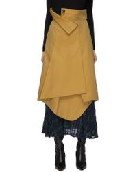 Enfold - Layered Check Plaid Hem Gabardine Skirt - Lyst
