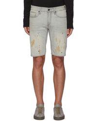 Denham 'razor' Paint Splatter Slim Fit Denim Shorts - Grey