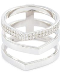 Repossi 'antifer' Diamond 18k White Gold Three Row Ring - Metallic