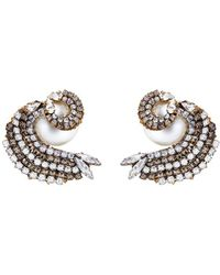 Erickson Beamon - 'delicate Balance' Swarovski Crystal Faux Pearl Swirl Stud Earrings - Lyst