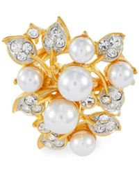 Kenneth Jay Lane - Glass Crystal Faux Pearl Vine Ring - Lyst