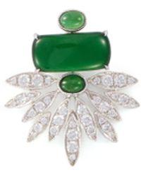 LC COLLECTION Diamond Jade 18k White Gold Pendant - Green
