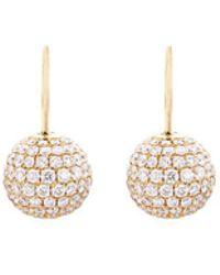 Shamballa Jewels - Diamond 18k Gold Sphere Drop Earrings - Lyst