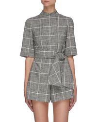 Alice + Olivia Virgil' Check Print Tie Belt Playsuit - Grey