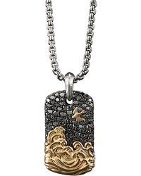 David Yurman 'waves' Diamond Silver 18k Yellow Gold Dog Tag Pendant - Metallic