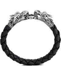 John Hardy 'legends Naga' Sterling Silver Braided Leather Bracelet - Black
