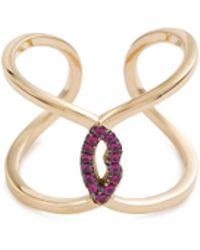 Delfina Delettrez 'ear-clips Lips' Ruby 18k Yellow Gold Open Ring - Metallic