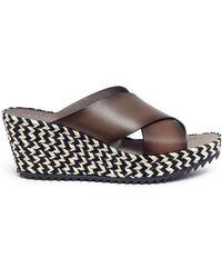 Pedro Garcia - 'fiamma' Zigzag Espadrille Platform Leather Sandals - Lyst