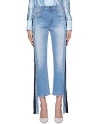 Hellessy 'pluto' Stripe Drape Silk Panel Outseam Jeans - Blue