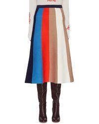Victoria, Victoria Beckham Striped Midi Skirt - Red