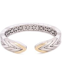 John Hardy - 18k Yellow Gold And Silver Weave Effect Cuff - Lyst