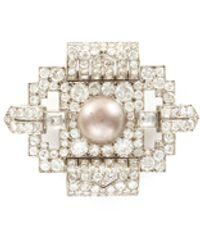Palais Royal Diamond Pearl Platinum Brooch - Multicolor