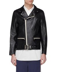 Digawel Belted Cow Leather Biker Jacket - Black