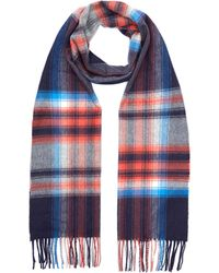 Johnstons Check Print Cashmere Scarf - Blue