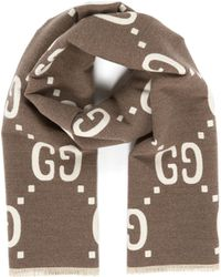 4c5a75c4a8f Gucci - Reversible GG Logo Jacquard Wool-silk Scarf - Lyst
