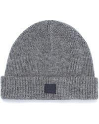Acne Studios - Face Patch Wool Blend Rib Knit Beanie - Lyst