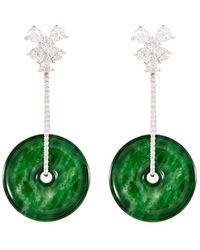 LC COLLECTION Diamond Jade 18k White Gold Disc Drop Earrings - Multicolour