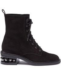 Nicholas Kirkwood - 'suzi' Stud Heel Suede Combat Boots - Lyst