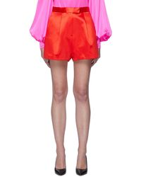 Alex Perry 'caden' Front Pleat Satin Shorts - Red