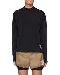 Satisfy Nylon Arm Patch Polartectm Thumbhole Long Sleeve T-shirt - Black