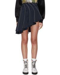 Angel Chen Panel Contrast Stitch Asymmetric Skirt - Blue