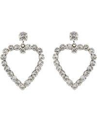Philippe Audibert 'cœur' Swarovski Crystal Cutout Heart Drop Earrings - Metallic
