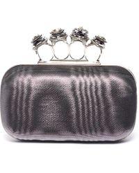 Alexander McQueen Jeweled Moire Satin Knuckle Clutch - Metallic