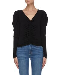 FRAME Agnes' V-neck Ruched Puff Sleeve Crop Blouse - Black