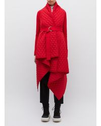 Norma Kamali Belted Drape Quilted Blanket Coat - Red
