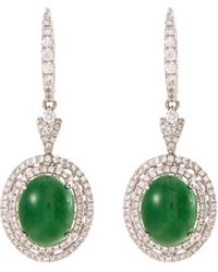 LC COLLECTION - Diamond Jade 18k White Gold Drop Earrings - Lyst