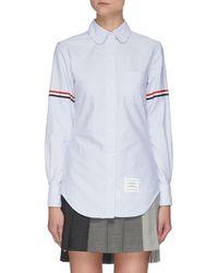 Thom Browne Stripe Armband Round Collar Oxford Shirt - Blue