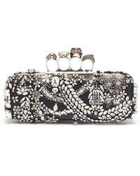 Alexander McQueen Swarovski Crystal Jewelled Leather Knuckle Clutch - Black