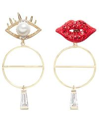 Venna - Detachable Drop Mismatched Eye And Lips Earrings - Lyst