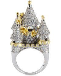 HEFANG 'castle' Cubic Zirconia Gold Silver Rose Ring - Metallic
