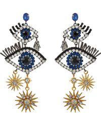 Elizabeth Cole - 'mara' Swarovski Crystal Eye Star Drop Earrings - Lyst