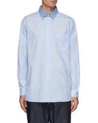 Nanamica Global Exclusive Stripe Button Down Wind Shirt - Blue